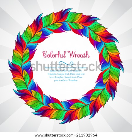 Colorful wreath of rainbow feathers - stock vector