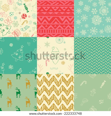 Colorful Xmas and New Year Doodles, Nine Christmas Seamless Background Patterns. Hand-Drawn Vector Illustration. Pattern Swatches - stock vector
