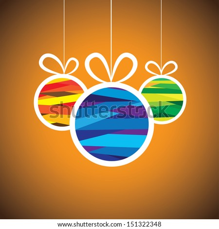 Colorful xmas bauble balls on orange background- vector graphic. This illustration shows three hanging balls decorated on christmas ( feliz navidad ) eve on orange background  - stock vector