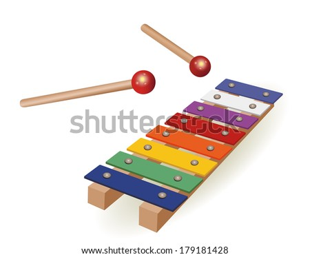 Colorful xylophone  isolated over white background Vector Illustration  - stock vector