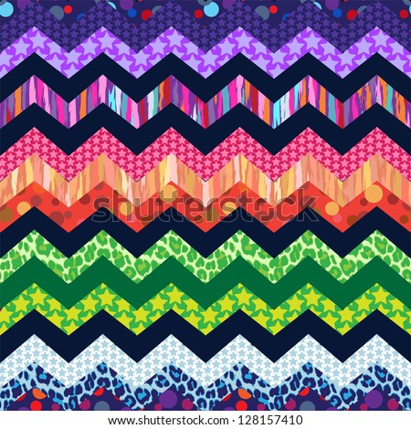 colorful zigzag print mixing seamless background - stock vector