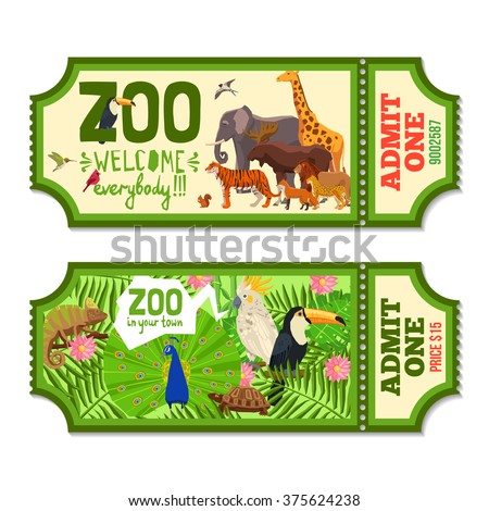 Colorful zoo tickets with tropical plants exotic birds and african animals flat vector illustration  - stock vector