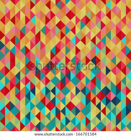 Colorfull diamond tiles seamless vector pattern.