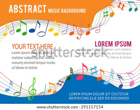 Colorfull music notes on a solide white background - stock vector