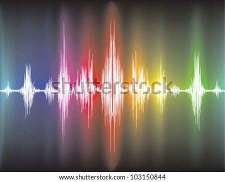 colorfull sound waves on black background - stock vector