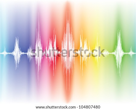 colorfull sound waves on white background - stock vector