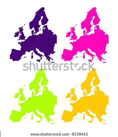 colorfull vector map of europe