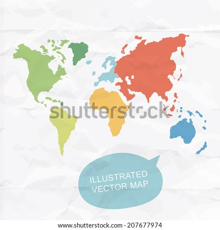 Colorfully vector hand illustrated map of World. Detailed political map. - stock vector
