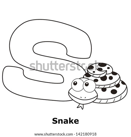 Coloring Alphabet for Kids, S with snake. - stock vector