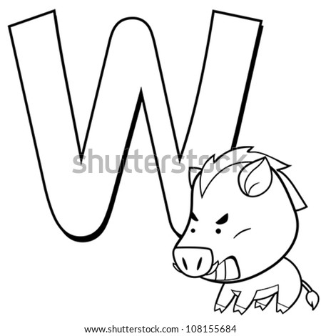 Coloring Alphabet for Kids, W with wild boar
