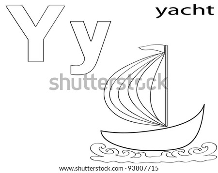 Coloring Alphabet for Kids,Y - stock vector
