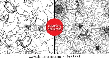 coloring antistress seamless patterns flowers leaves stock vector
