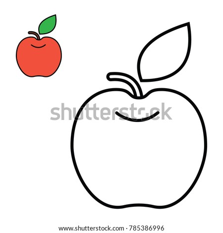 Coloring Apple Vector For Childreen