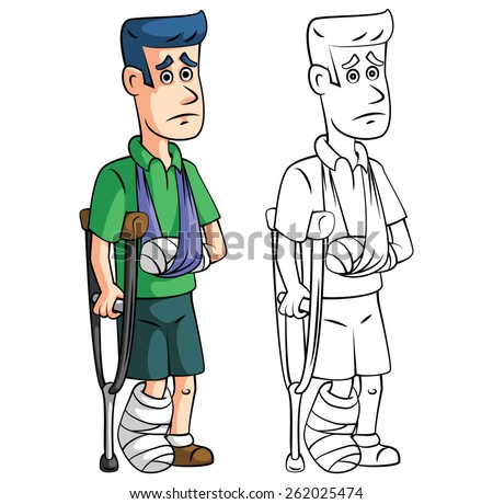 Coloring book accident insurance cartoon character - stock vector