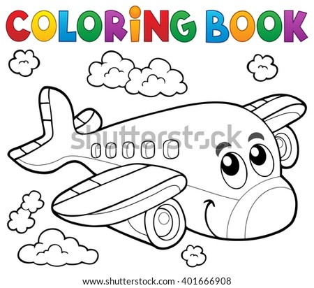 Coloring book airplane theme 2 - eps10 vector illustration. - stock vector