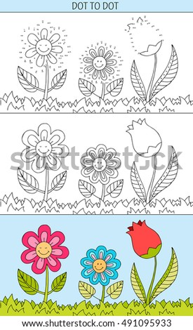 Coloring book and dot to dot educational game for kids. Connect the dots puzzle. Worksheet for class or at home with the kids. Cartoon flowers smiling