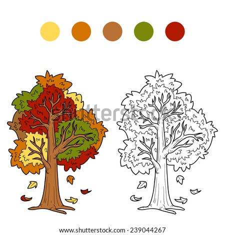Coloring book (autumn tree)