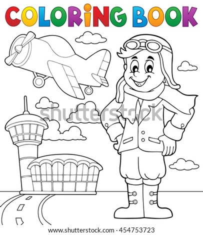 Coloring book aviation theme 3 - eps10 vector illustration.