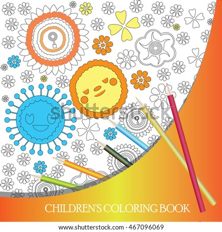 Coloring Book Background Vector Kids With Abstract Flowers Live