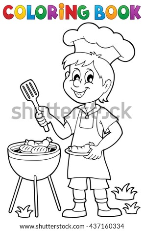 Coloring book barbeque theme 1 - eps10 vector illustration. - stock vector