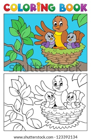 Coloring book bird image 5 - vector illustration. - stock vector