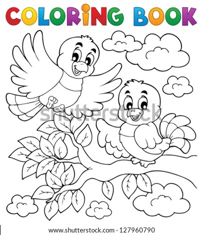 Coloring book bird theme 2 - vector illustration. - stock vector
