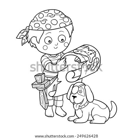 Coloring book (boy and dog playing pirates)  - stock vector