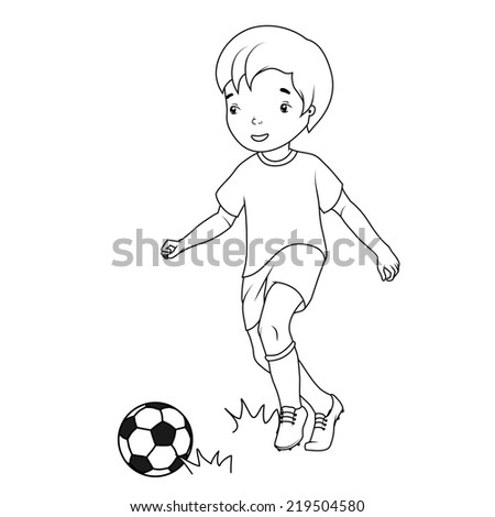 Coloring book: boy playing soccer - stock vector