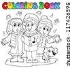Coloring book carol singing theme 1 - vector illustration. - stock vector