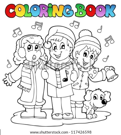 Coloring book carol singing theme 1 - vector illustration. - stock vector