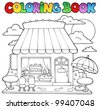 Coloring book cartoon candy store - vector illustration. - stock vector