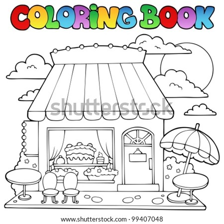 Coloring book cartoon candy store - vector illustration. - stock vector