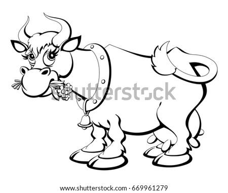 Coloring Book Cartoon Cow Chewing Grass Stock Vector 669961279 ...