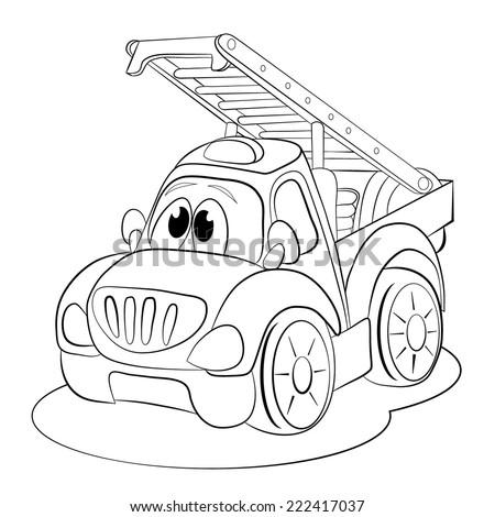 Coloring Book Cartoon Funny Car Ladder