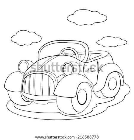 Coloring book. Cartoon of merry retro-car. - stock vector
