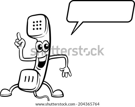 coloring book - cartoon phone receiver character - stock vector