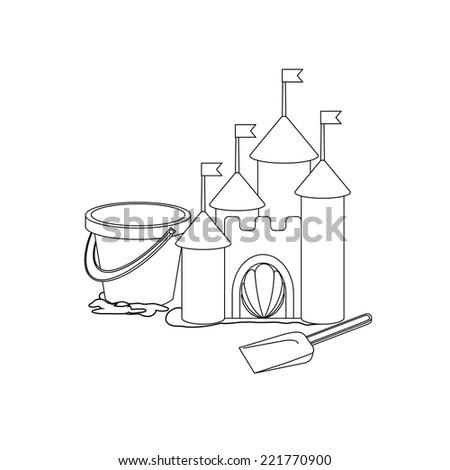 Coloring book: Cartoon sand castle - stock vector