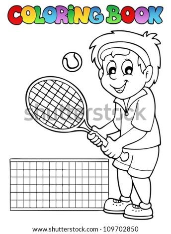 Coloring book cartoon tennis player - vector illustration. - stock vector