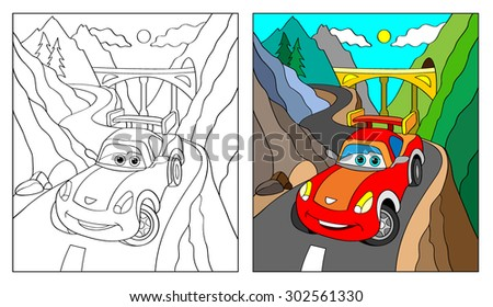 Coloring Book, Cartoon Vector Illustration of Black and White Cars. Illustration for the children, coloring page with red cartoon car. Doodle Comic Characters Machine for Children Education - stock vector