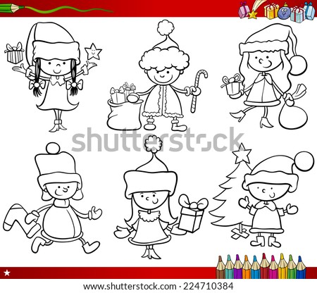 Coloring Book Cartoon Vector Illustration of Black and White Christmas Themes Set with Children in Santa Claus Costumes - stock vector