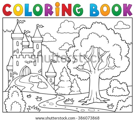 Coloring book castle and tree - eps10 vector illustration.