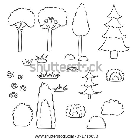 coloring book cat trees and shrubs - Coloring Book Trees