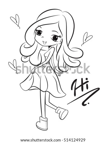 Coloring Book Charming Girl Wearing Summer Stock Vector (2018 ...