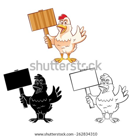 Coloring book Chicken Mascot cartoon character