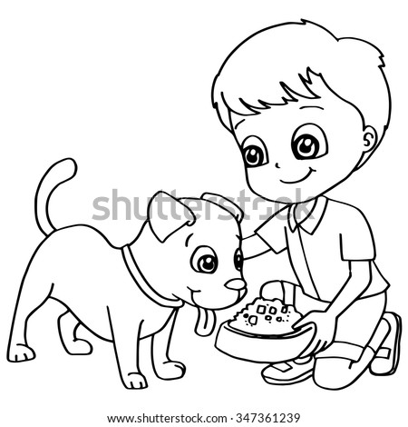 Coloring Book Child Feeding Dog Vector