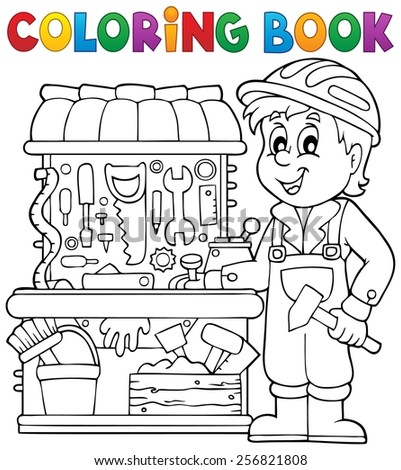 Coloring book child playing theme 2 - eps10 vector illustration. - stock vector