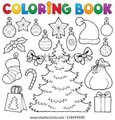 Coloring book Christmas decor 1 - eps10 vector illustration. - stock vector