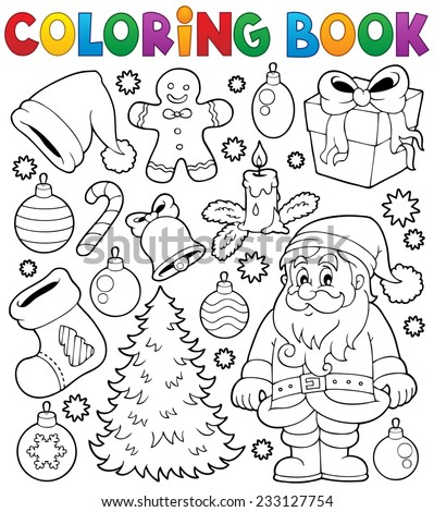 Coloring book Christmas thematics 4 - eps10 vector illustration. - stock vector