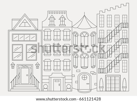 Coloring Book Cityscape Line Art Houses