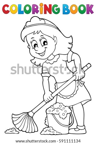 Coloring book cleaning lady 2 - eps10 vector illustration.